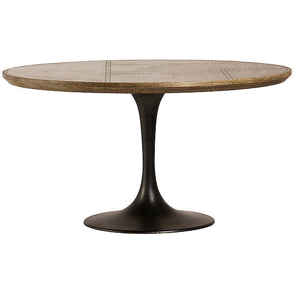 "Lugo 55"" Tulip Round Dining Table in Oak and Galvanized Brass"