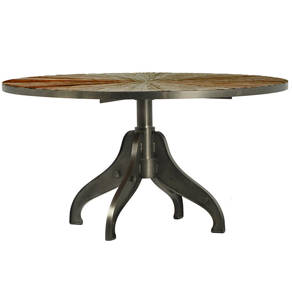 Large Round Industrial Dining Table with Cast Iron Base & Reclaimed Elm Wood Top