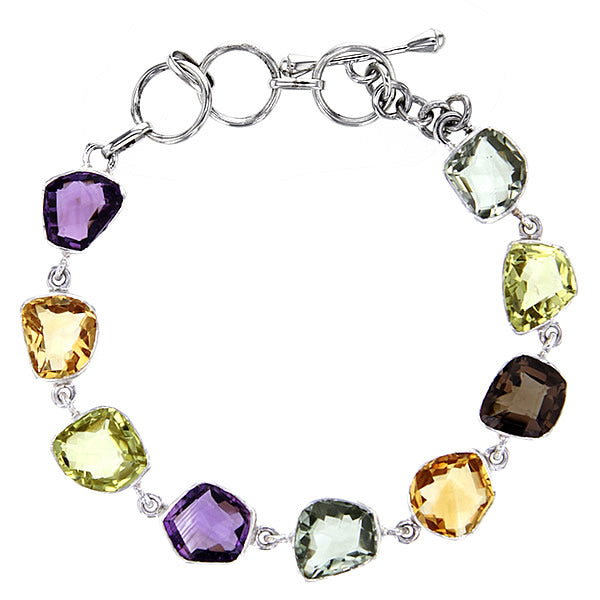 Organic Faceted Chunky Amethyst, Citrine & Prasiolite Bracelet in Sterling Silver