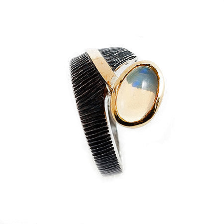 Sterling Silver and Bronze Ring with an Oval Ethiopian Opal by Bora Hollywood
