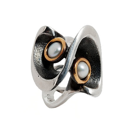 Sculptural Sterling Silver and Bronze RIng with Aristic Owl Design and 2 Inset White Pearls by Bora