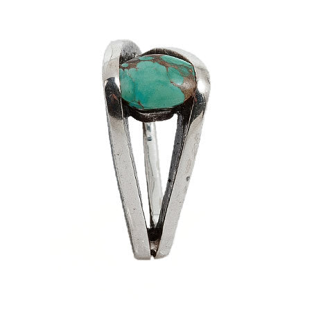 Eccentric Artisan Crafted Triangular Infinity Ring from Sterling Silver with Turquoise by Bora Hollywood