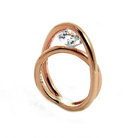 Rose Gold Sterling Silver Double Band with Signity CZ in Unique Pressure Setting by Bora