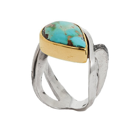 Bohemian Chic Luxury Ring Hand Crafted Sterling Silver, Bronze and Turquoise by Bora