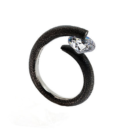 Cora Oxidized Sterling SIlver Band with Signity Crystal in Unique Pressure Setting by Bora