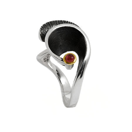 Swirly Whimsical Modern Sterling Silver Ring with 24kt Gold and Pink Tourmaline by Bora