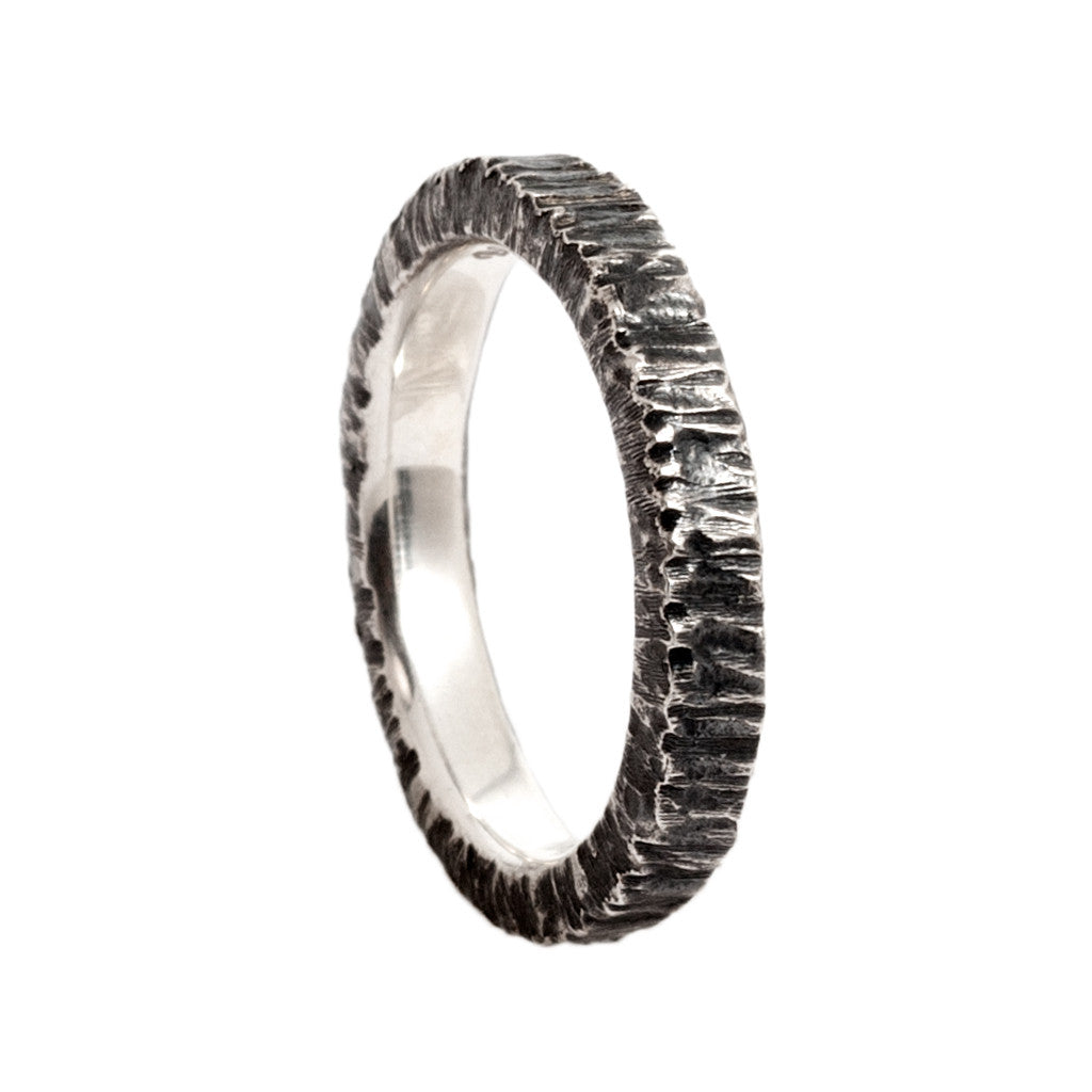 Brutalist Style Hammered Oxidized Sterling SIlver Ring by Bora Hollywood