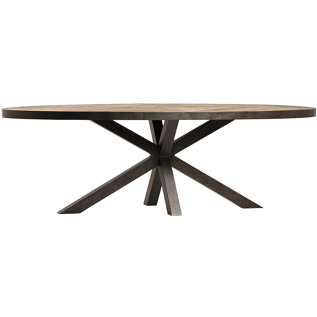 "Flemming Massive 94"" Oval Dining Table with Black Starburst Base & Pine Top"