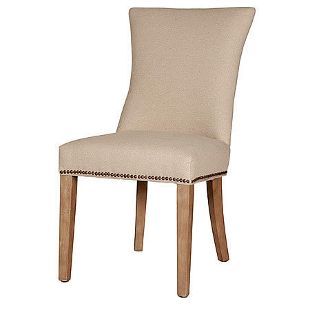 Plano Fabric Damask Side Chair in Jute Stone Wash Hollywood