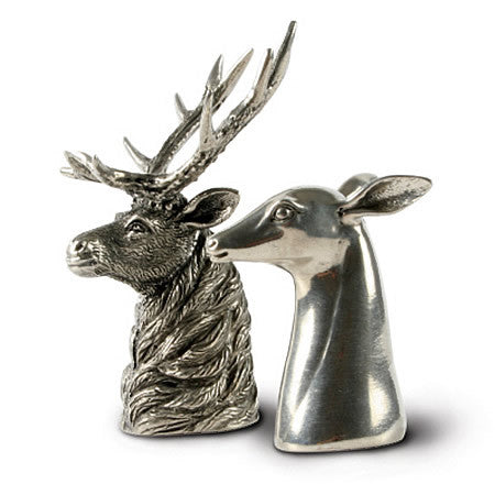 Elk & Doe Salt & Pepper Shaker Pair From Sterling Silver Pewter
