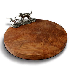 Labrador & Duck Cheese Board From Sterling Silver Pewter & Oak Wood