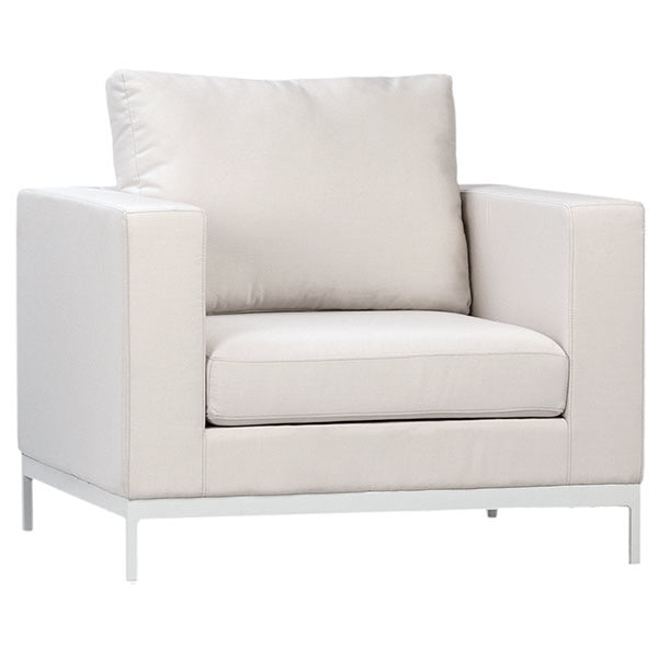 Blaydon White Sunbrella Fabric Upholstered Armchair Hollywood