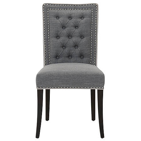 Berlin Tufted Chair in Smoke Colored Fabric Damask with Jute Piping and Silver Nails Detail