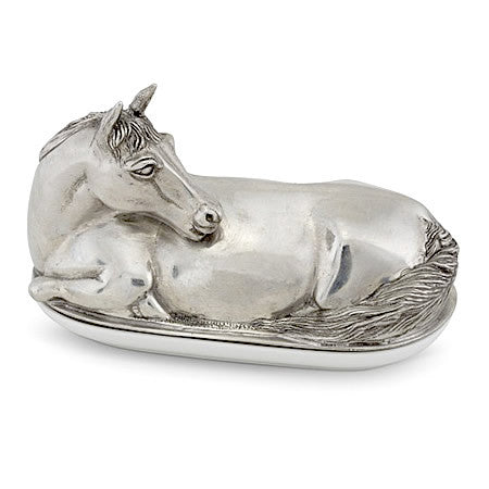Horse Butter Dish in Sterling Silver Pewter Hollywood