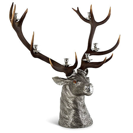 Luxury Life Size Elk Head 6 Taper Candlestick Holder