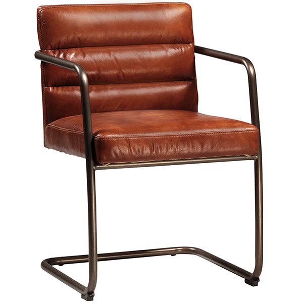 The L Cantilever Ribbed Cognac Leater Arm Chair with Steel Tube Frame