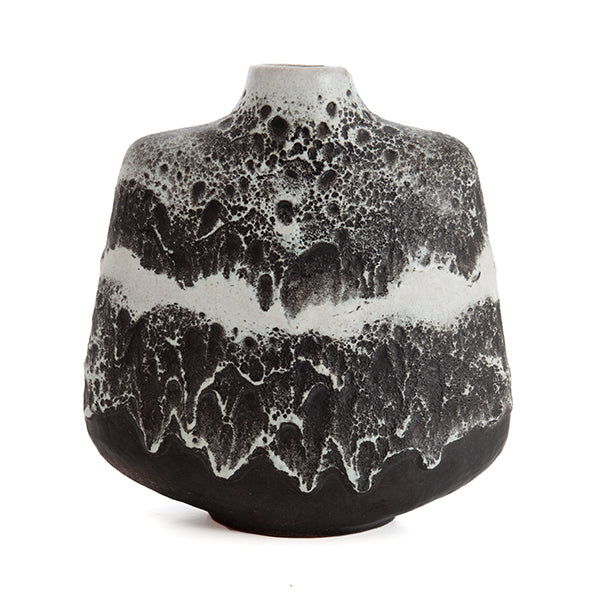 Black and White Fat Lava Vase by Rudolf Christmann & Gerda Heuckeroth for Carstens of West Germany Hollywood