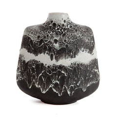 Black and White Fat Lava Vase by Rudolf Christmann & Gerda Heuckeroth for Carstens of West Germany