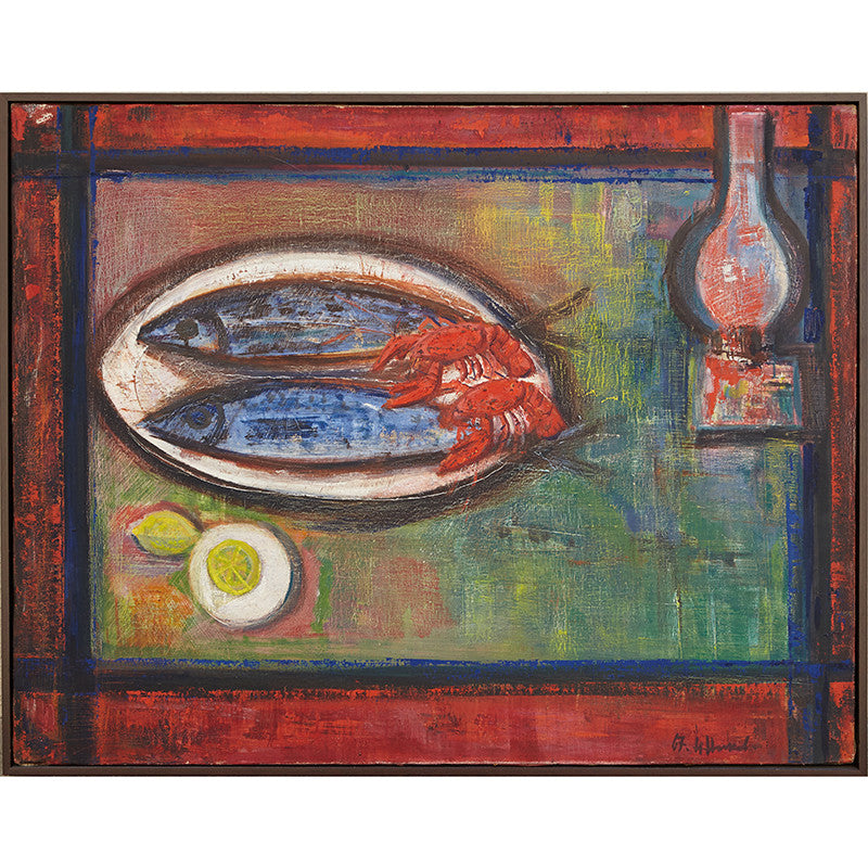 1967-vintage-oil-painting-of-still-life-with-mackerel-and-crayfish-by-nikolay-nikov