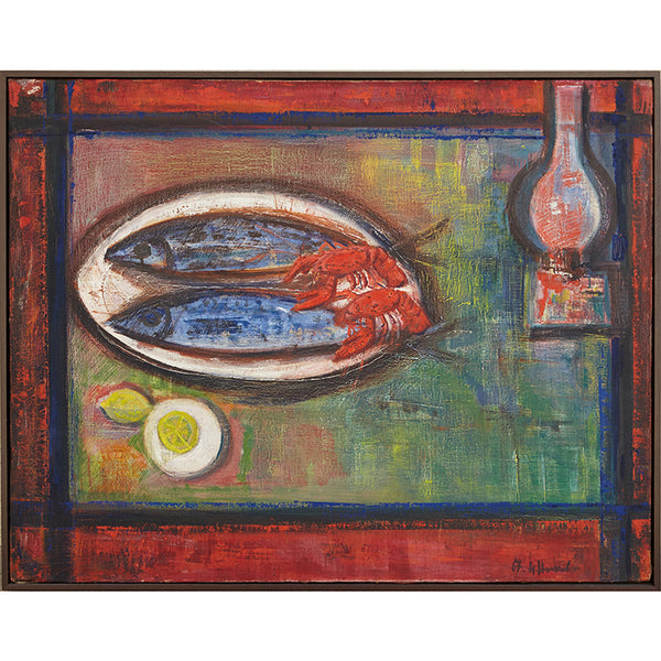 1967 Vintage Oil Painting of Still Life with Mackerel and Crayfish by Nikolay Nikov