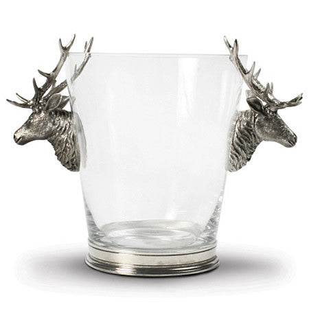 Deer Head Glass Ice Bucket made from Sterling Silver Pewter Hollywood