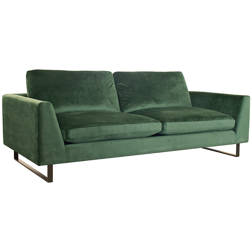 Hunter Green Poly Damask Sofa with Black Sled Legs