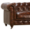 "Laguna 119"" Luxury Tufted Full Grain Leather Sofa in Antiqued Brown"