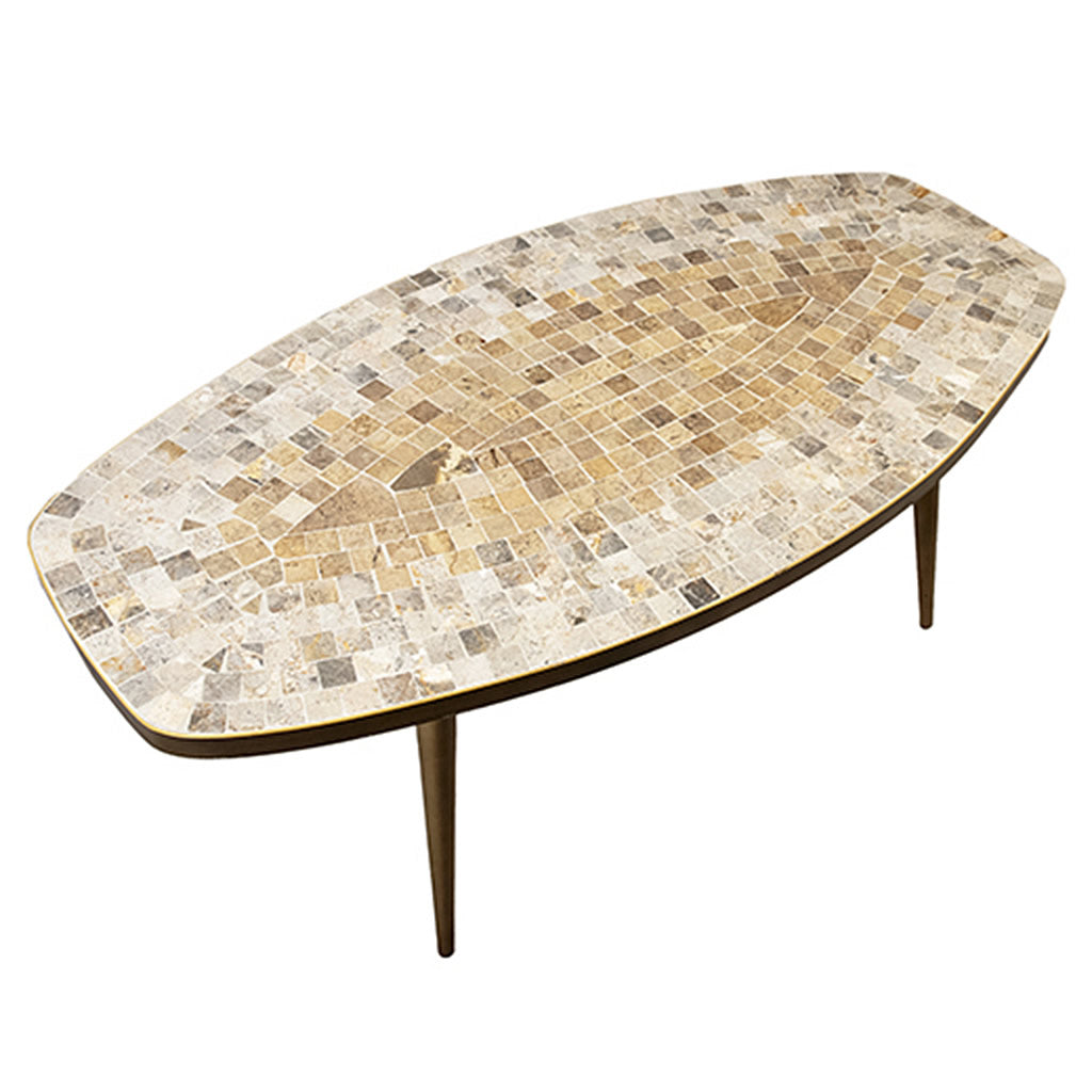 Dainish Style Mid Century Mosaic Top Coffee Table with Brass Frame