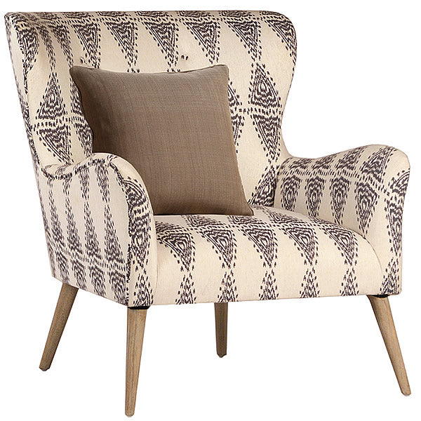 Manhattan Mid Century Modern Armchair in Graphic Pattern Linen Damask