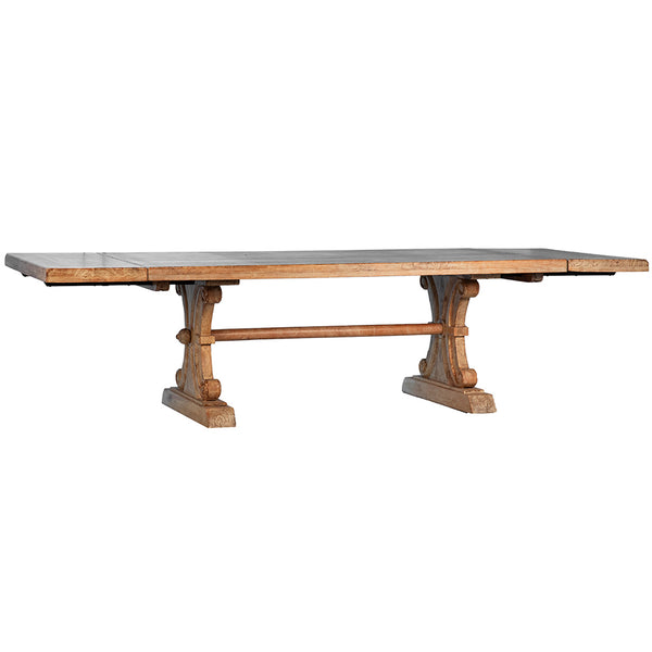 Large Extendable Italian Dining Table in Sienna Finish Blond Indian Hardwood