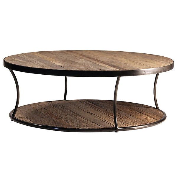 "Ronaldo 47"" Round Coffee Table with Reclaimed Wood Top"