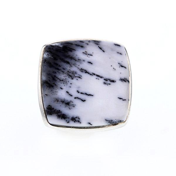 Dendrite Opal Sterling Silver Square Ring Size 6