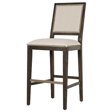 Stanley Barstool in Oatmeal Fabric Damask Rustic Java Finish and Bronze Nail Trim Hollywood