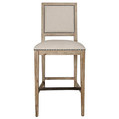 Stanley Barstool in Oatmeal Fabric Damask Stone Wash Finish and Bronze Nail Trim Hollywood