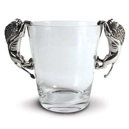 Lions Glass Ice Bucket Made From Sterling Silver Pewter