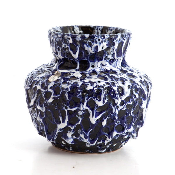 ES Keramik Vase in Blue and White Fat Lava Glaze Hollywood