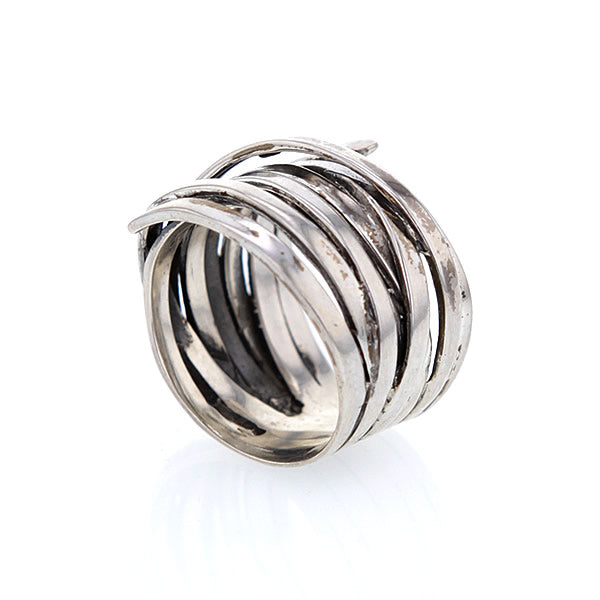 Sterling Silver Multi Wrap Around Band Artisan Ring