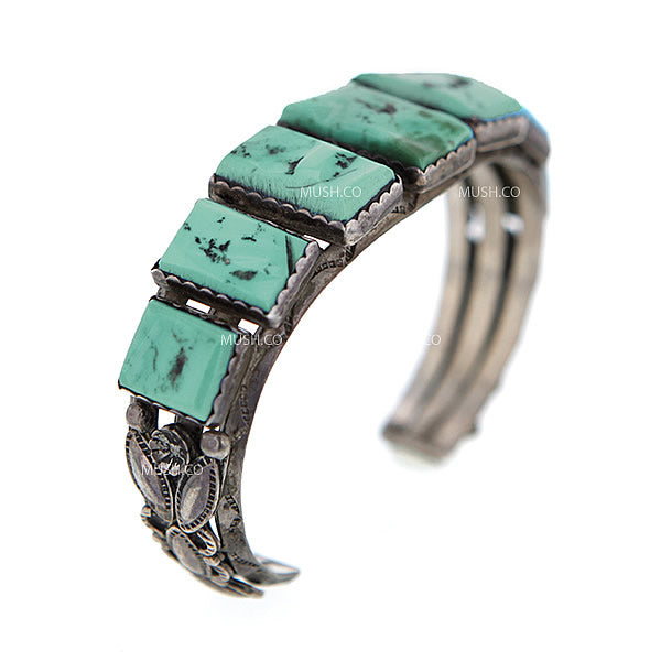 Sterling Silver Navajo Cuff Bracelet with Kingman Turquoise by E. Pino