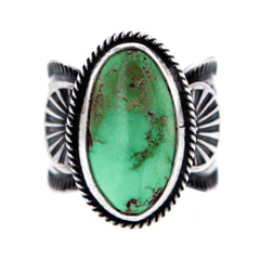 Navajo Sterling Silver Ring with Royston Turquoise by Sunshine Reeves size 9