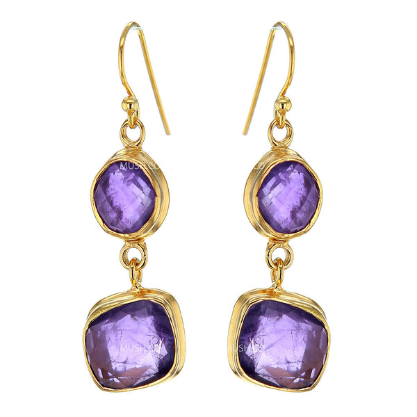 2 Tier Faceted Freeform Amethyst Crystal Earrings in 14K Gold Plated Sterling Silver