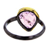 Black Rhodium Plated Sterling Silver Band with Teardrop PinkTourmaline Size 6