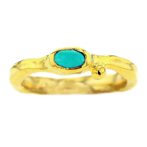 14K Gold Plated Sterling Silver Raw Textured Ring with Turquoise Size 7