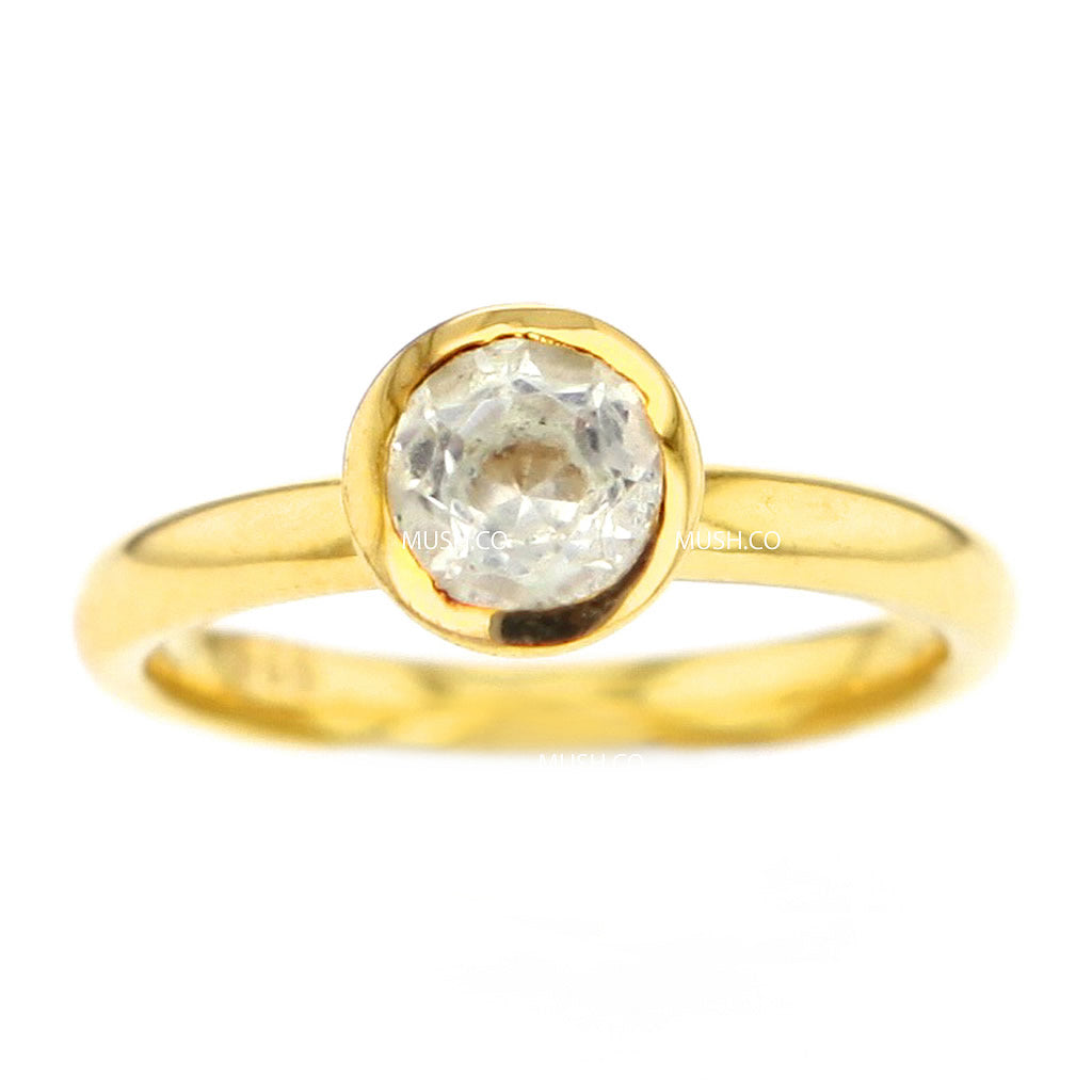 14K Gold Plated Sterling Silver Ring with Round Quartz Crystal Size 6