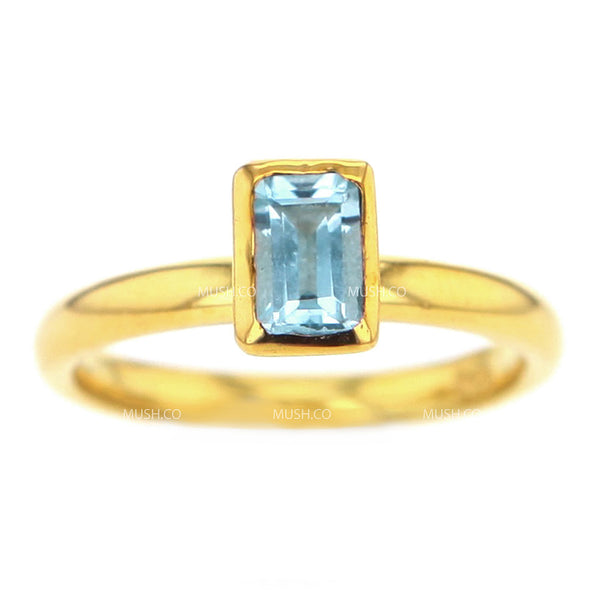 14K Gold Plated Sterling Silver Ring with Baguette Blue Topaz Crystal Size 7