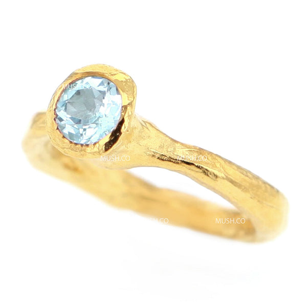 14K Gold Plated Sterling Silver Raw Textured Ring with Faceted Blue Topaz Crystal Size 5.5