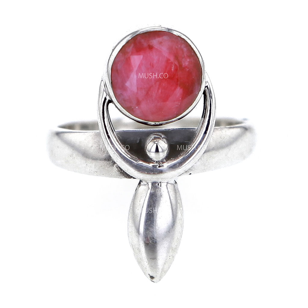 Goddess Faceted Ruby Sterling Silver Ring Size 6