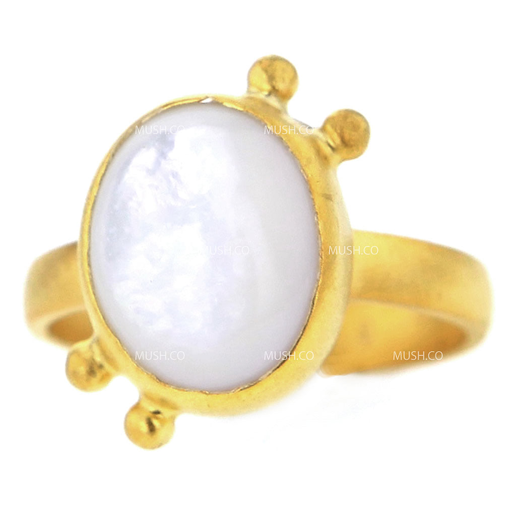 14K Brushed Gold Plated Sterling Silver Ring with Moonstone Size 6