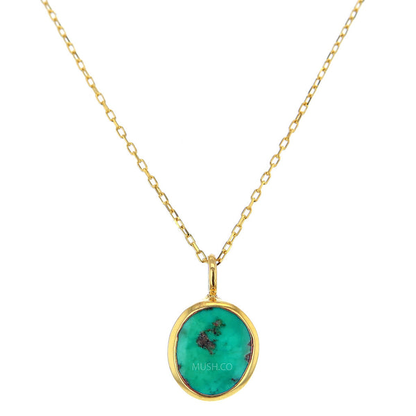 Discreet 14K Gold Plate Sterling Silver and Turquoise Pendant Necklace