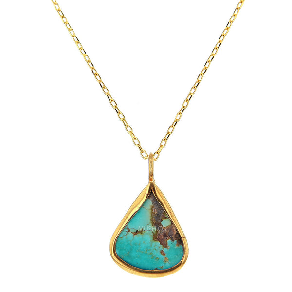 14K Gold Plate Sterling Silver and Teardrop Turquoise Pendant Necklace
