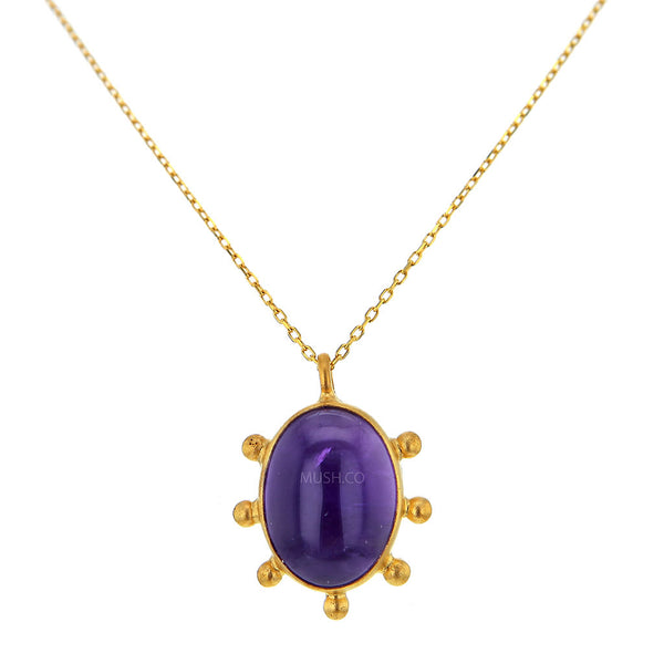 14K Brushed Gold Plate Sterling Silver and Oval Amethyst Pendant Necklace